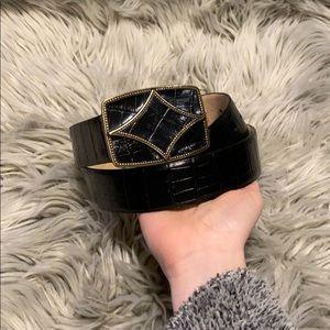 Oscar de la renta leather western belt